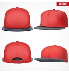 Set layout of male red rap cap vector