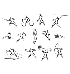 Set of sports symbols and pictograms vector image vector image