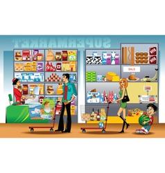 Supermarket shopping vector image