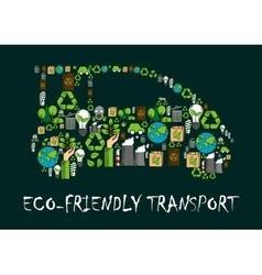 Eco car symbol made up of ecological icons vector image vector image