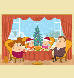 family at home celebrating christmas vector image vector image