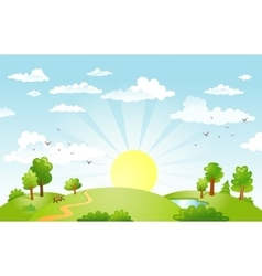 Green Landscape and the road vector image vector image
