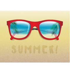 sunglasses reflecting tropical landscape vector image