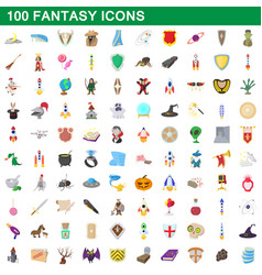 100 fantasy icons set cartoon style vector image