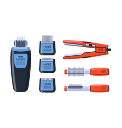 Barber salon professional set with tools equipment vector