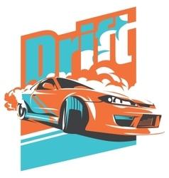 Burnout car Japanese drift sport JDM vector image vector image