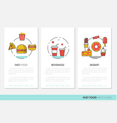 fast food business brochures linear vector image vector image