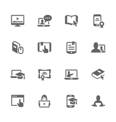 Simple Online Education Icons vector image