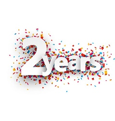 Two years paper confetti sign vector