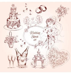 Wedding Sketch Set vector image