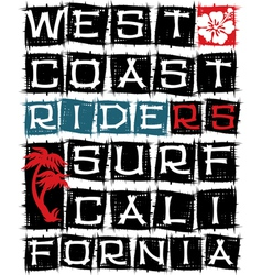 West coast surf riders vector image vector image