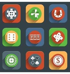 Casino flat design elements vector image vector image