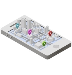 City plan isometric on smartphone vector image