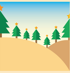 design christmas tree on mountain vector image vector image