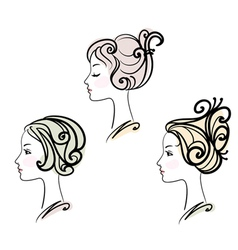 portrait of three female with stylised hairstyles vector image