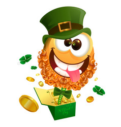 smile jester in hat patrick jumps out of box vector image vector image