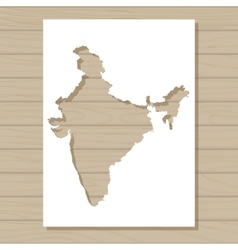stencil template of India map on wooden background vector image