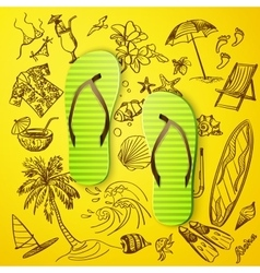 thongs and hand draw tourist icon vector image