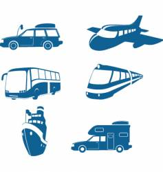 transport and travel icons vector image vector image
