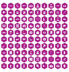 100 donation icons hexagon violet vector