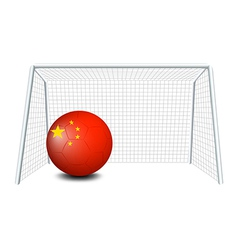A soccer ball with the flag of China vector