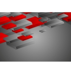 Abstract red grey corporate tech 3d shapes vector image