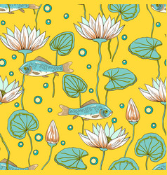 Adorable seamless pattern with lotus flowers buds vector