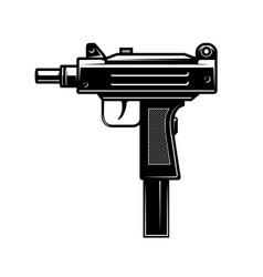 automatic uzi handgun in monochrome style design vector image