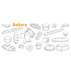 bakery pastry and bread sketch set vector image