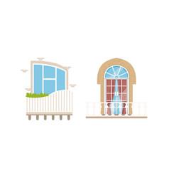 balcony windows set house facade design elements vector image