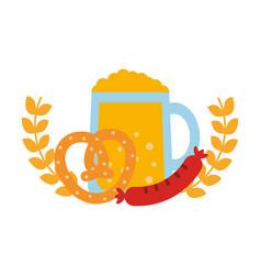 beer jar beverage with pretzel and sausage in vector image