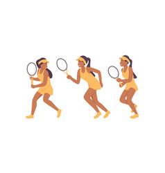 big tennis woman character set vector image