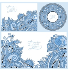 Blue colour set of floral decorative background vector