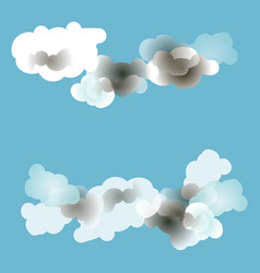 blue sky background with various cartoon clouds vector image