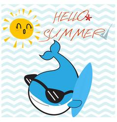 Blue whale hello summer cartoon vector