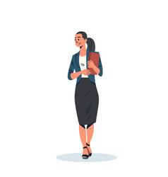 Brunette businesswoman holding checklist business vector