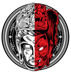 buddha tattoo yiin-yang vector image