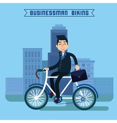 businessman biking man biking in city vector image