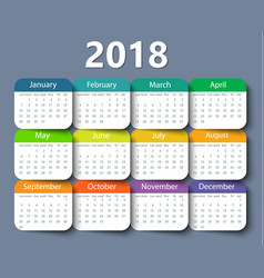 calendar 2018 year design template vector image