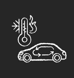 Car air conditioning chalk white icon on black vector