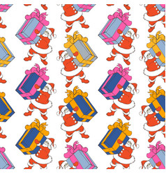 cartoon santa claus seamless pattern santa claus vector image