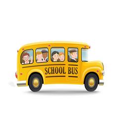 Cartoon school bus with children vector