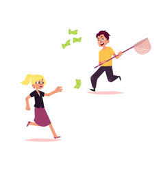 Casual people chasing for money set vector