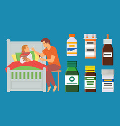 child laying in bed father caring for sick kid vector image