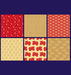 Chinese japanese seamless patterns set vector
