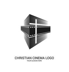 Christian cinema logo symbols movies vector