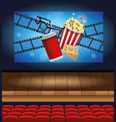 cinema entertainment with soda and pop corn vector image