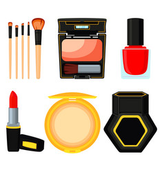 colorful cartoon daily care cosmetic set vector image