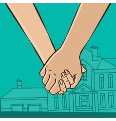 Couple go from house vector