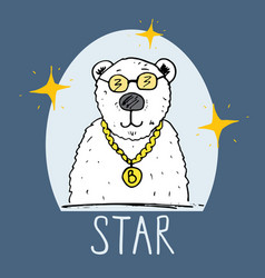 cute bear hand drawn sketch t-shirt print design vector image